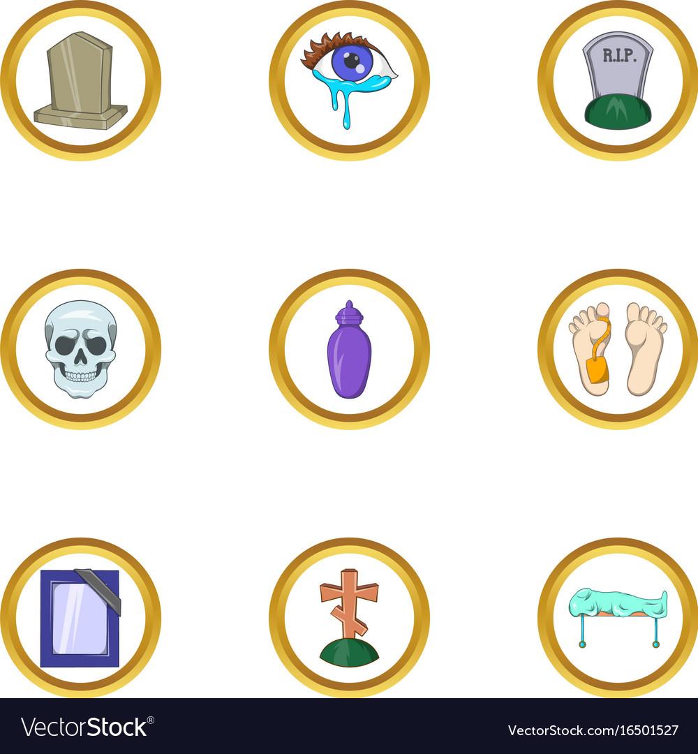Death icon set cartoon style