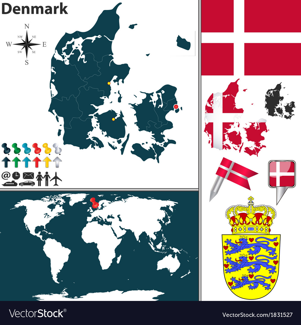 Denmark Map World Royalty Free Vector Image Vectorstock
