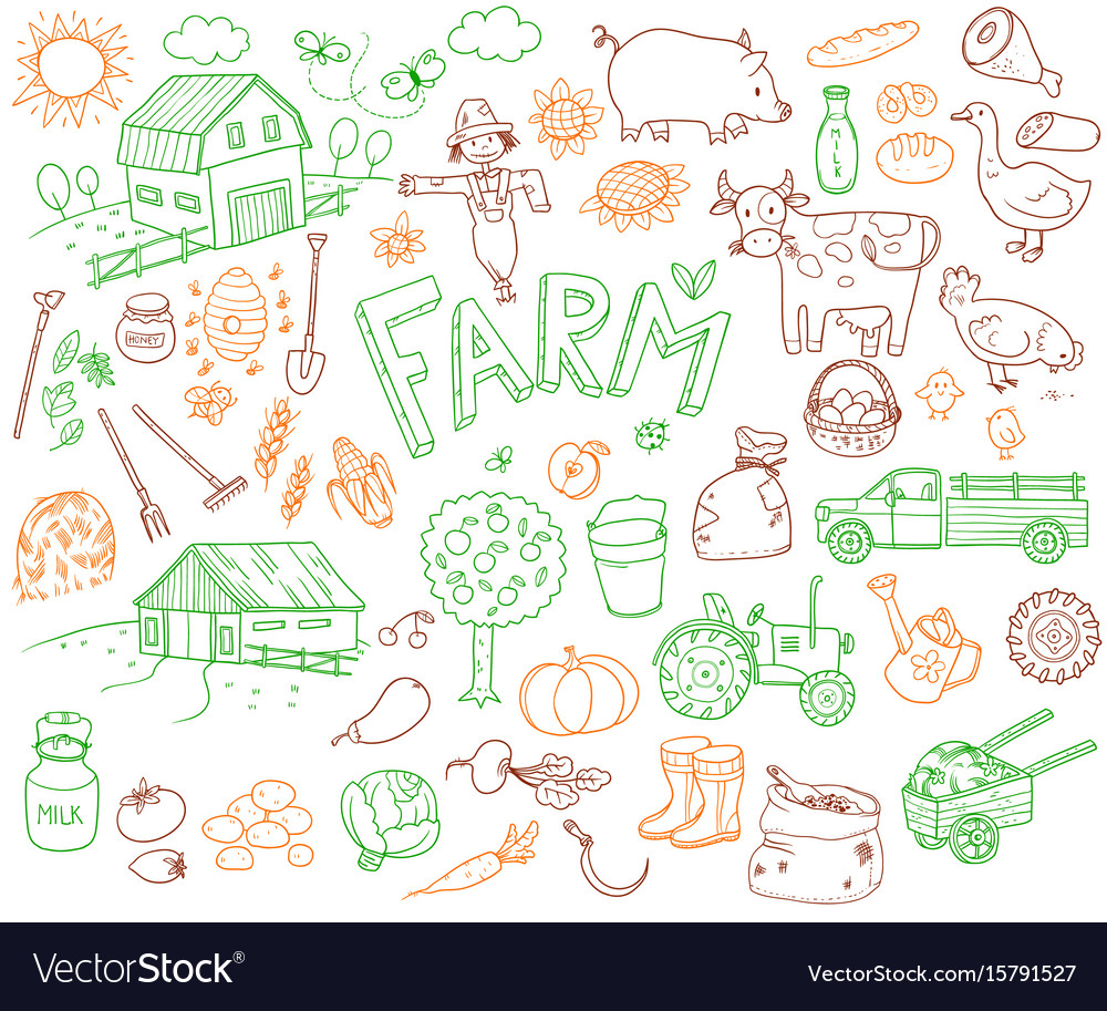 Doodle farming icons set vector image