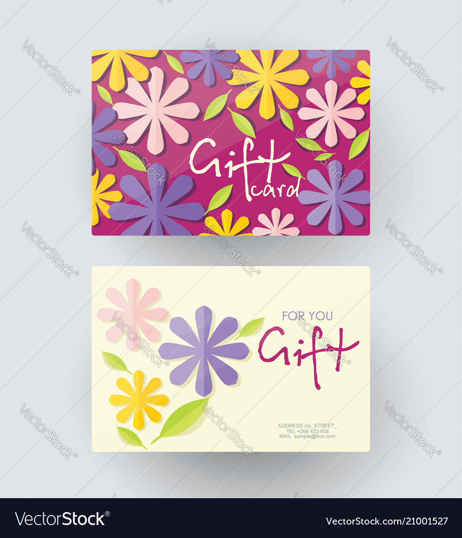 Gift card design template with floral decoration