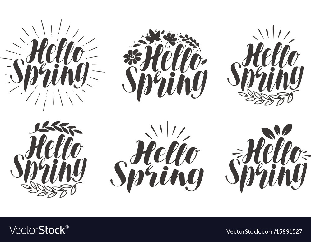 Hello spring lettering label set calligraphy