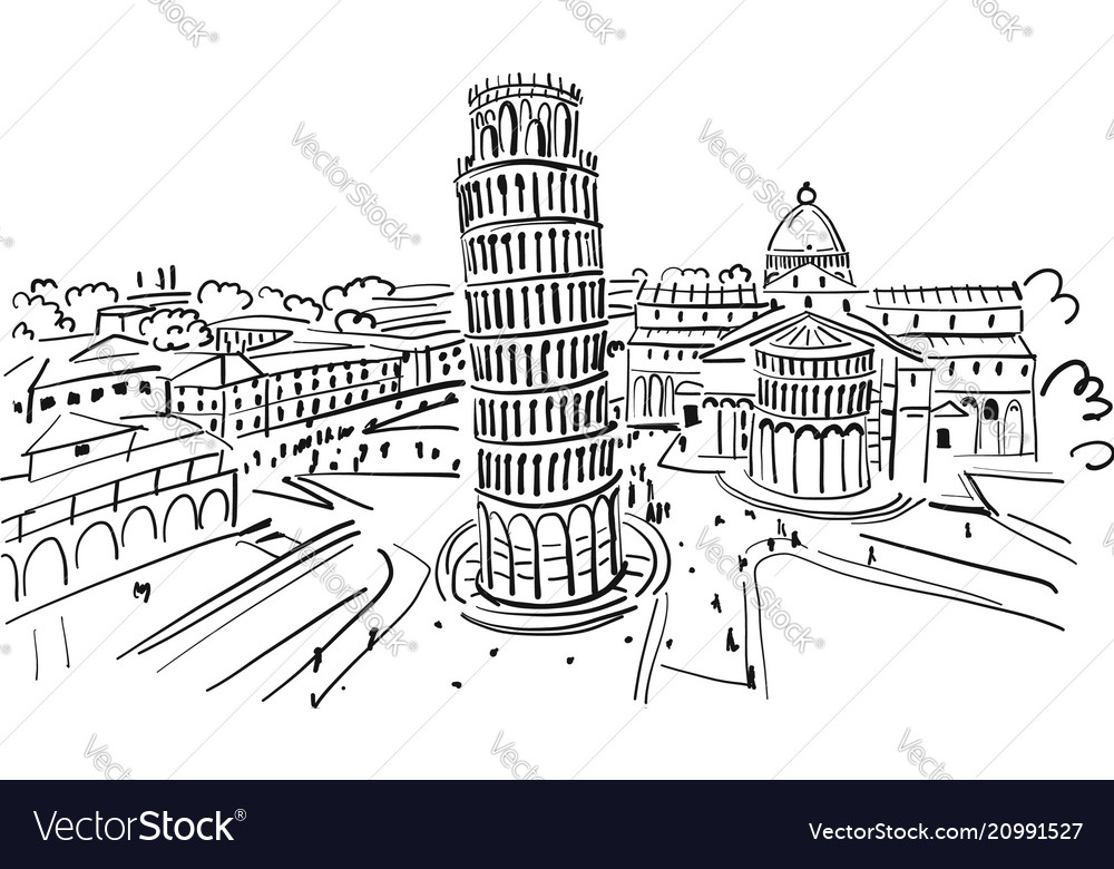 Leaning tower of pisa italy sketch for your