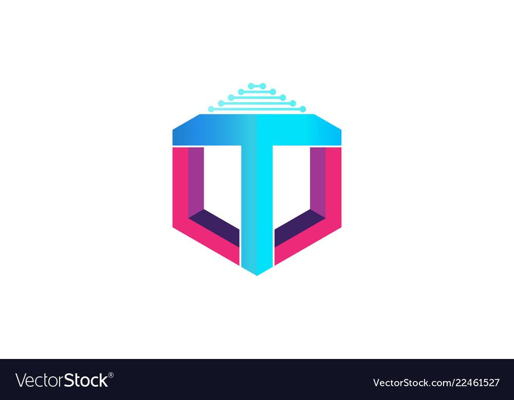 Letter t hexagon technology logo designs