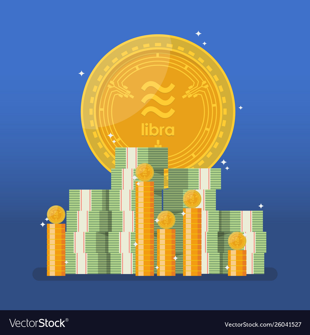 Libra currency with cash money in flat style