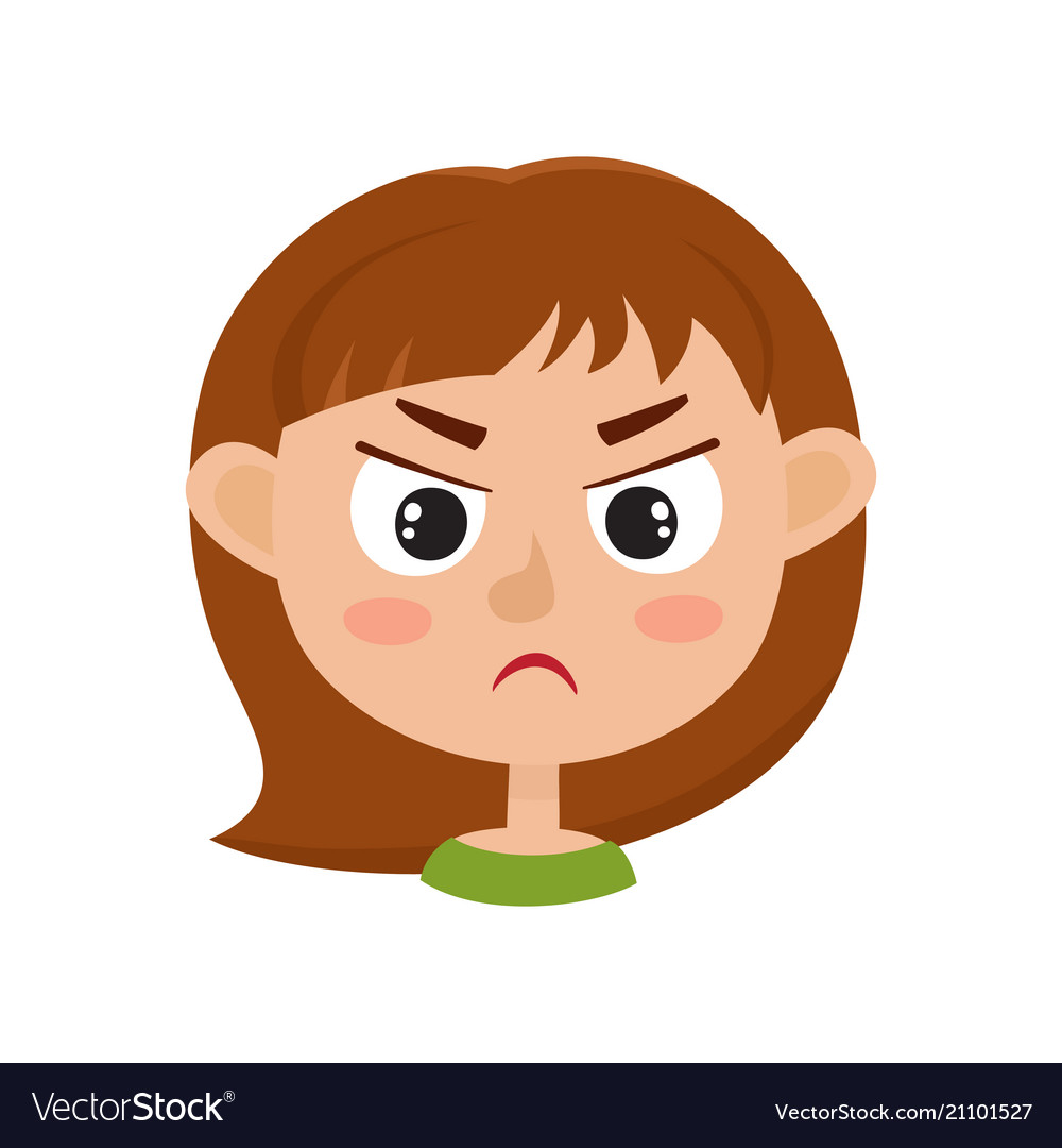 little girl angry face expression set of cartoon vector image rh vectorstock com angry cartoon face on feet angry cartoon faces images worksheet