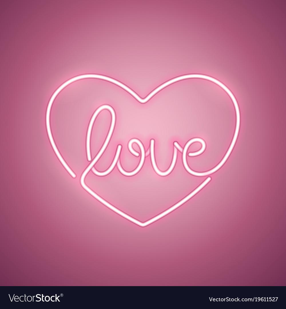 Love Neon Sign Rose Royalty Free Vector Image Vectorstock