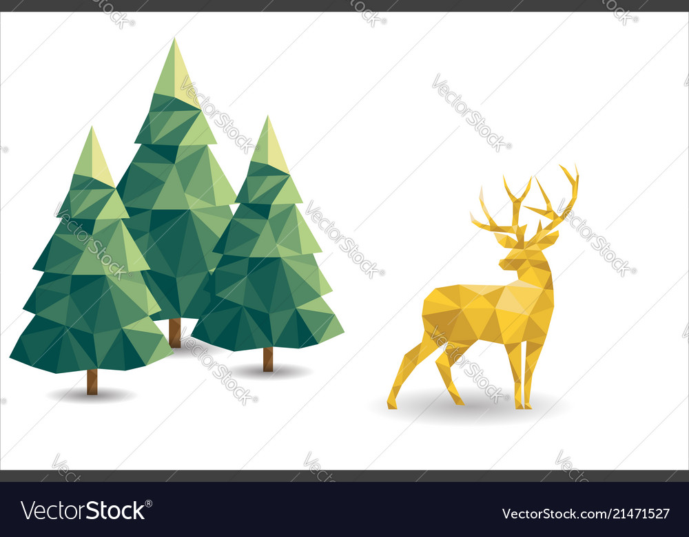 Low poly christmas scene with reindeer and pines