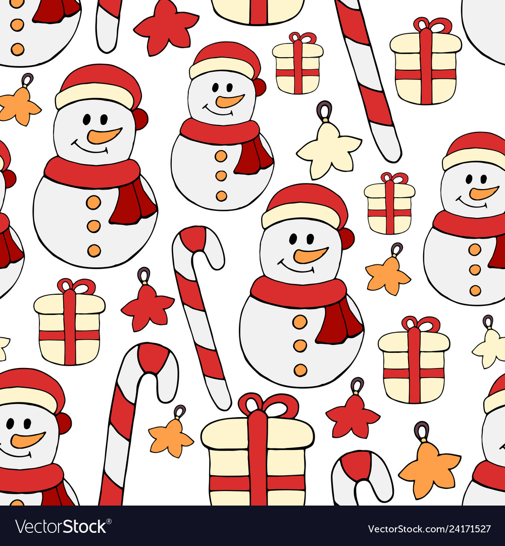 Seamless hand drawn pattern with snowmen on white
