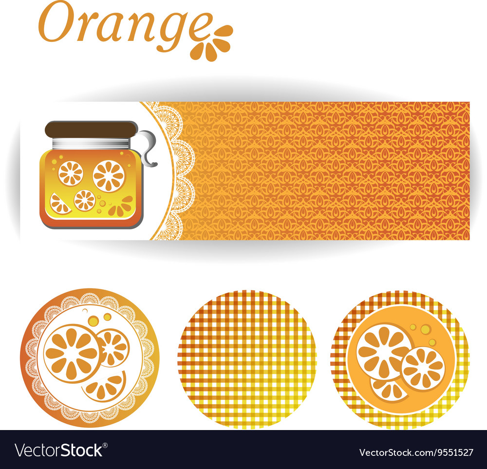 Set of rectangular and round stickers for orange