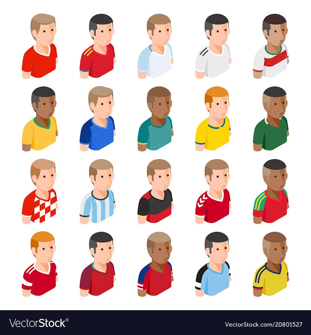 Soccer football player avatar icons