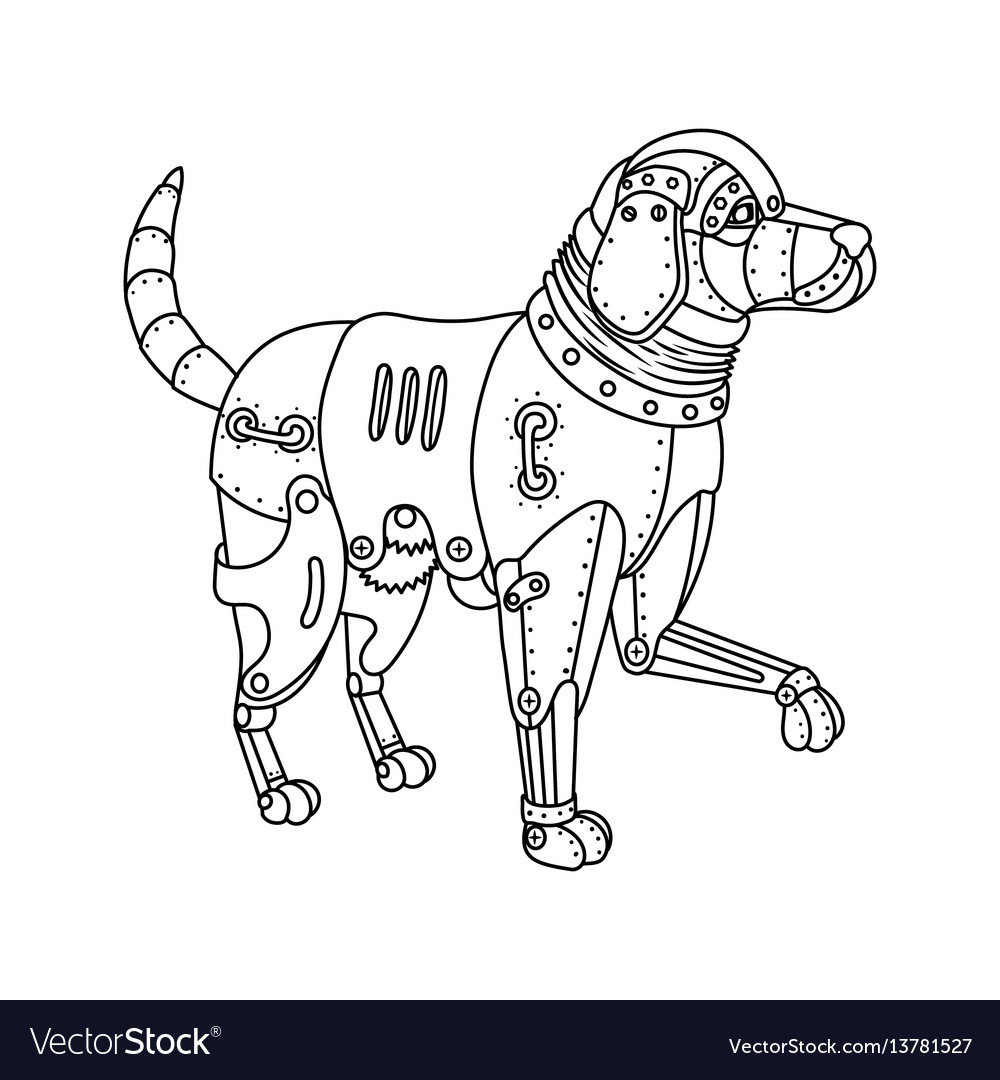 Steam punk retriever dog coloring book Royalty Free Vector