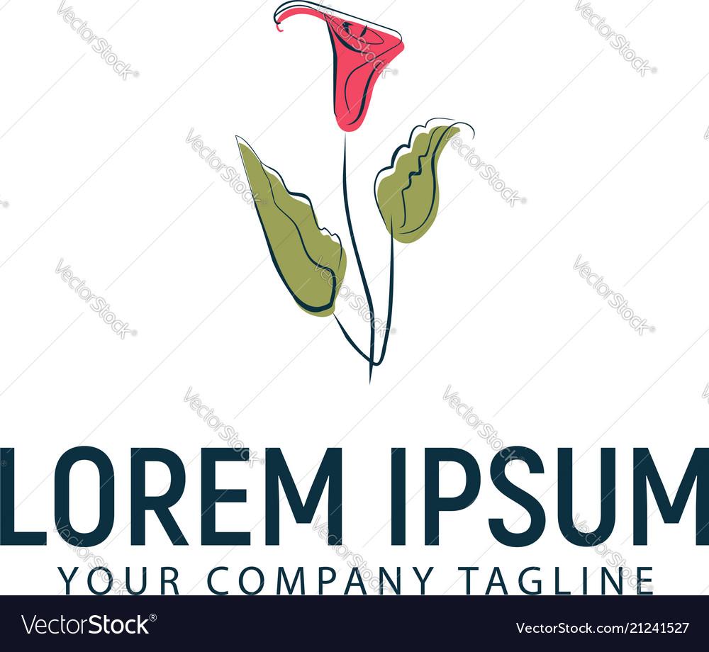 Tulips flower hand drawn logo design concept