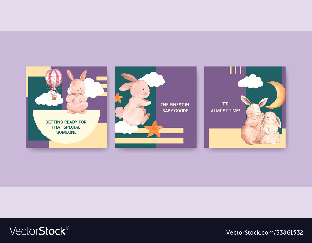 Ads template with baby shower design concept