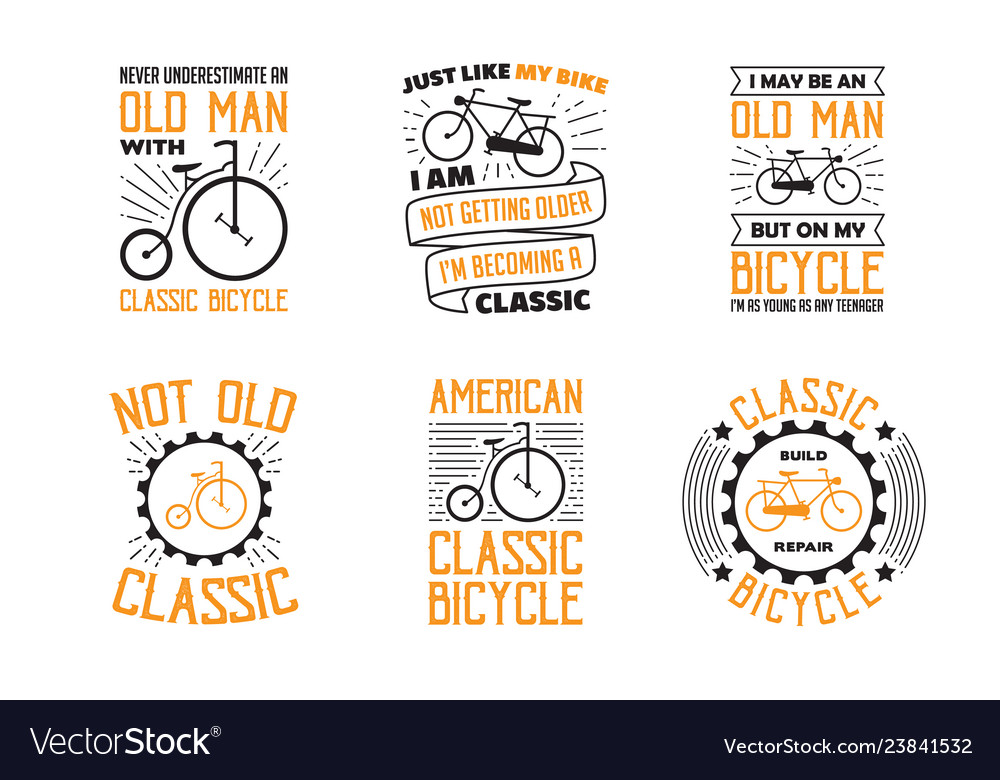Bicycle quote and saying set of bicycle quote