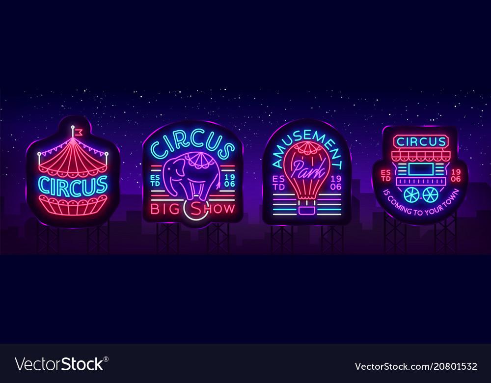 Circus collection neon signs set logos