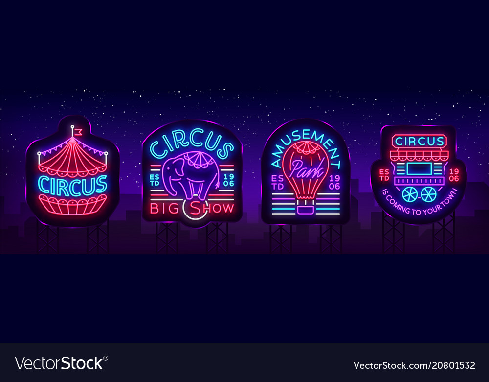Circus collection of neon signs set of logos for