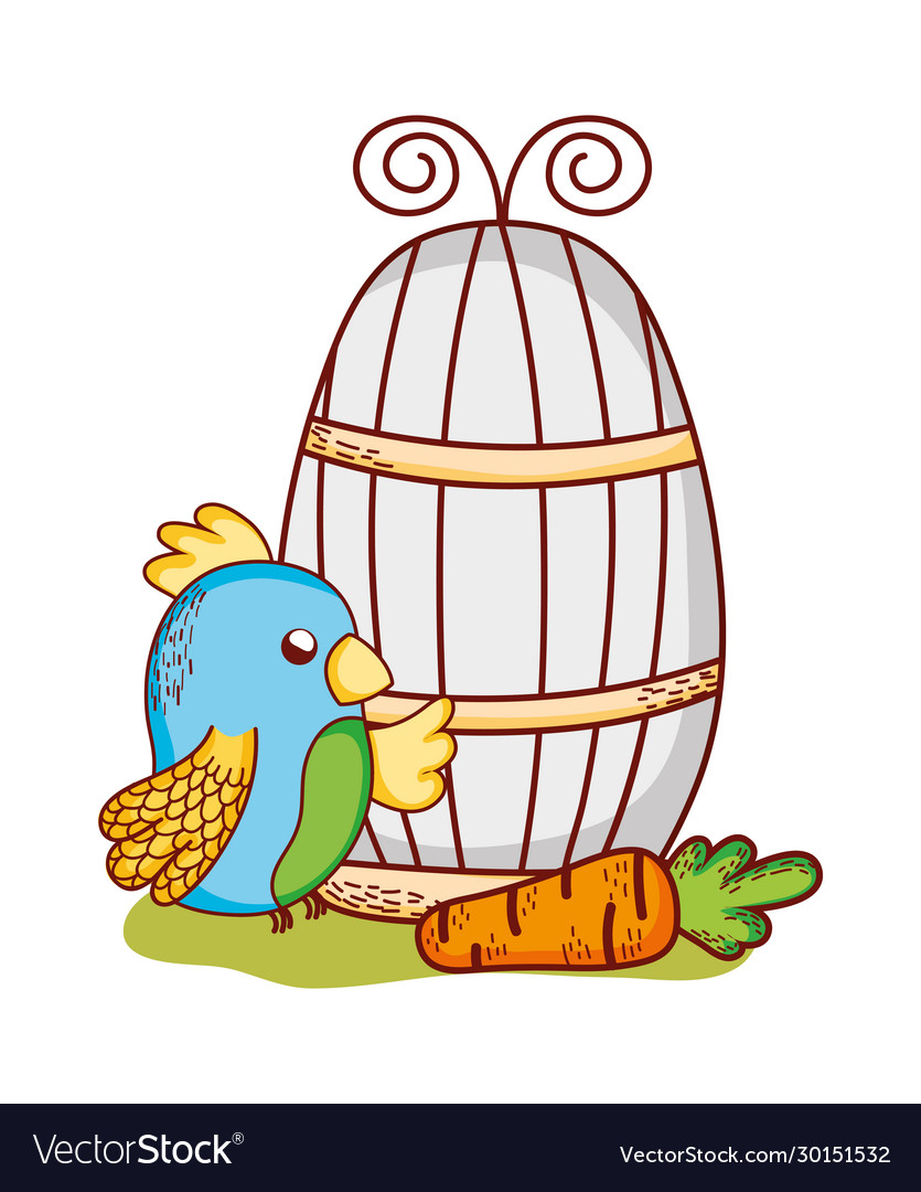 Cute animals blue parrot and carrot cartoon