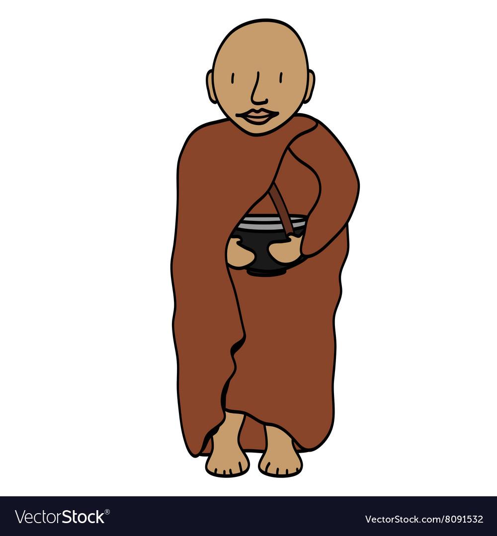Cute young monk cartoon