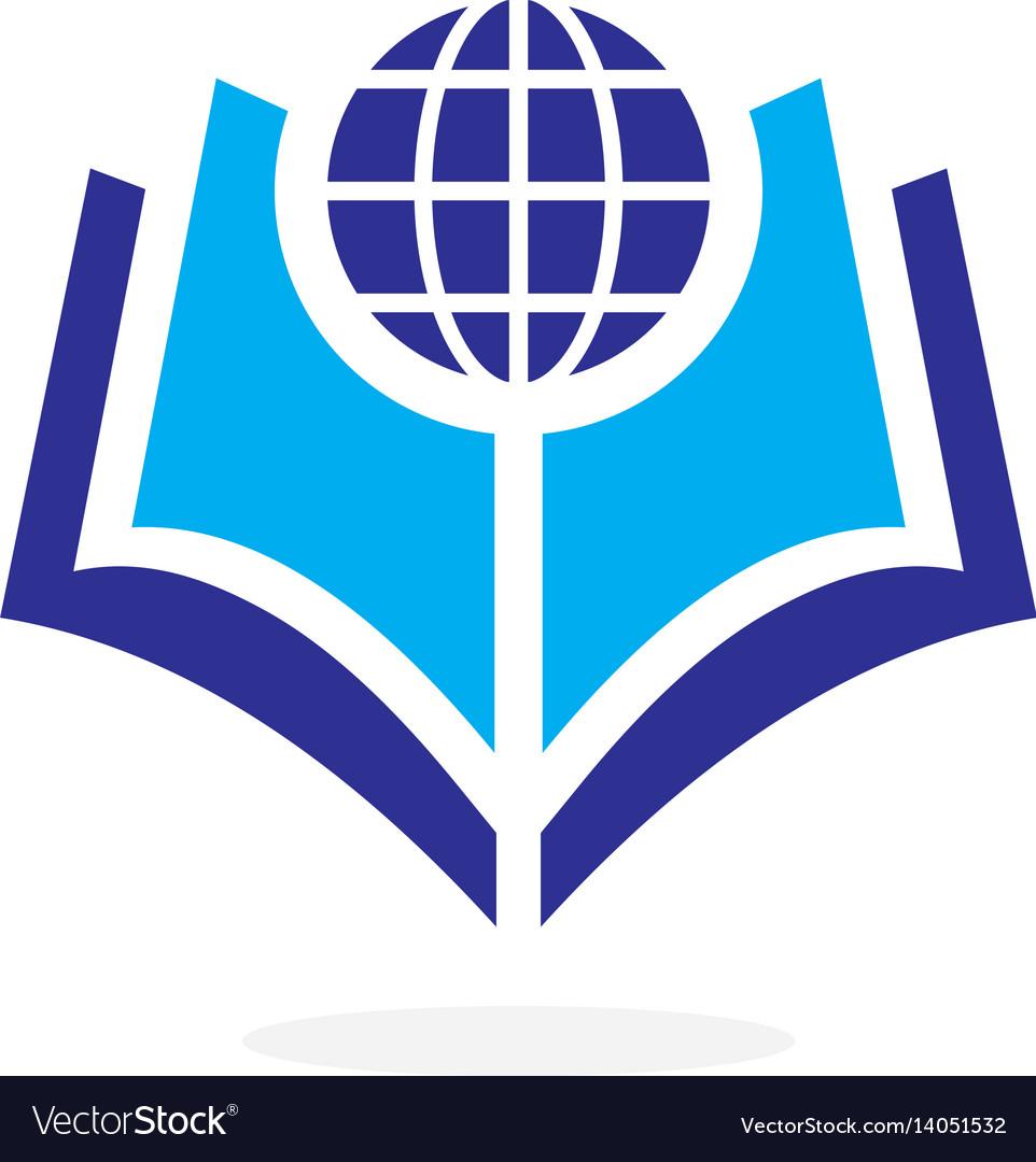 Globe world book logo concept