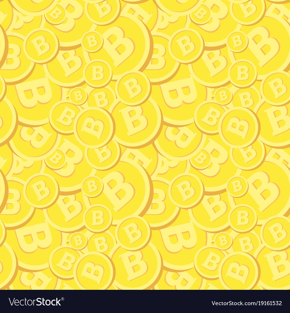 Golden seamless pattern with bitcoins realistic