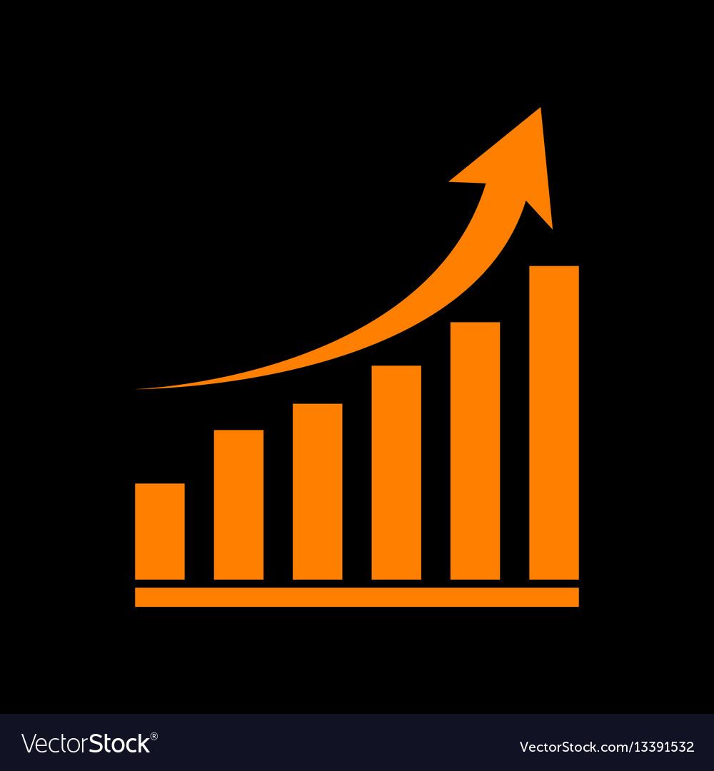 Growing graph sign orange icon on black