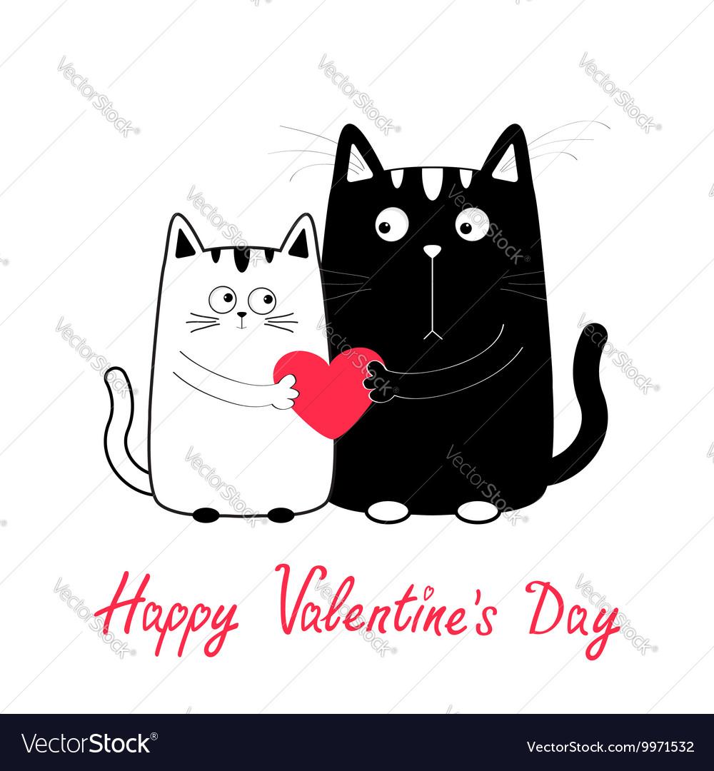 Happy Valentines Day Cute Cartoon Black White Cat Vector Image