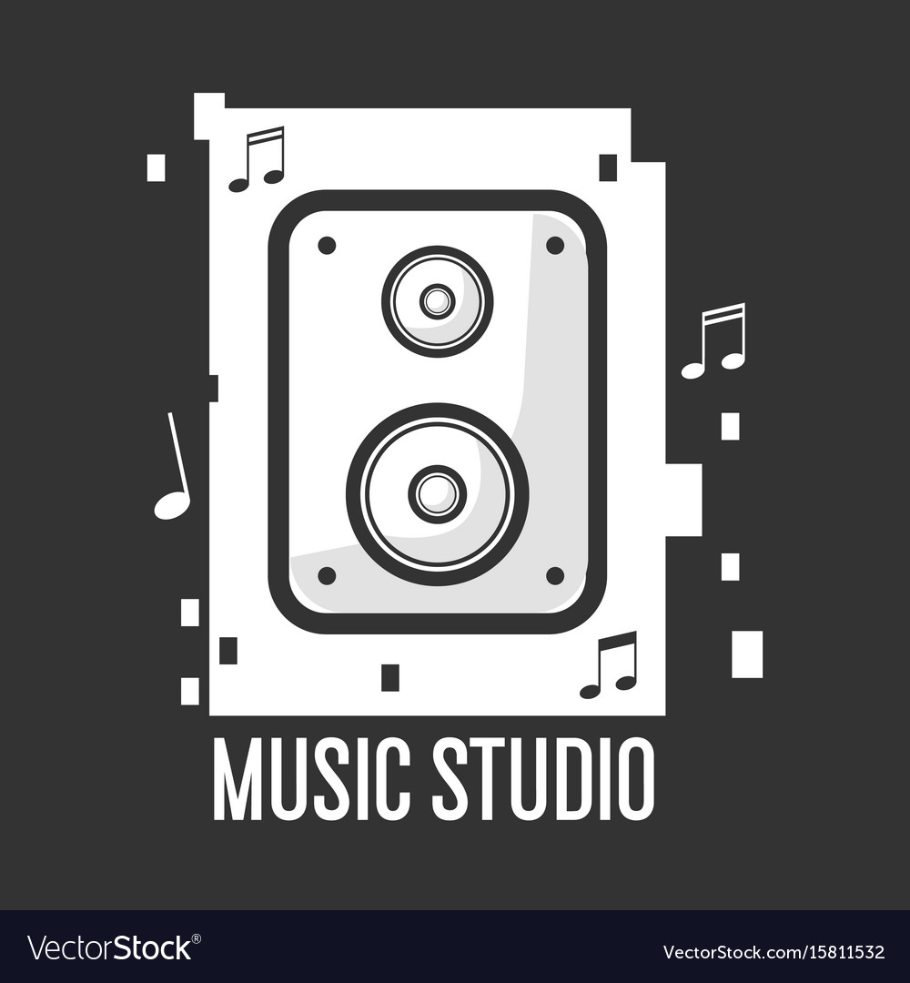 Music studio black and white logotype with