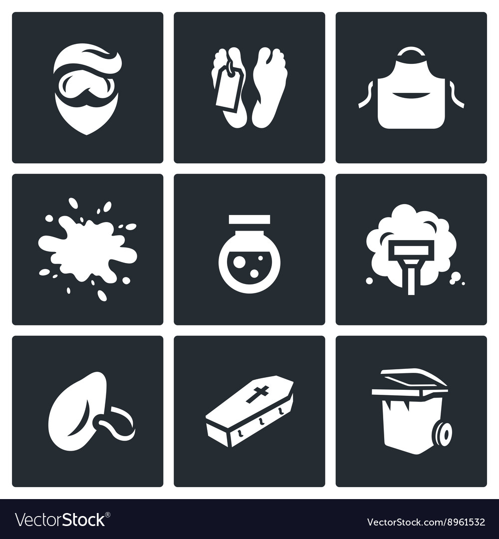 Set of Cleaning after the murder Icons Man vector image
