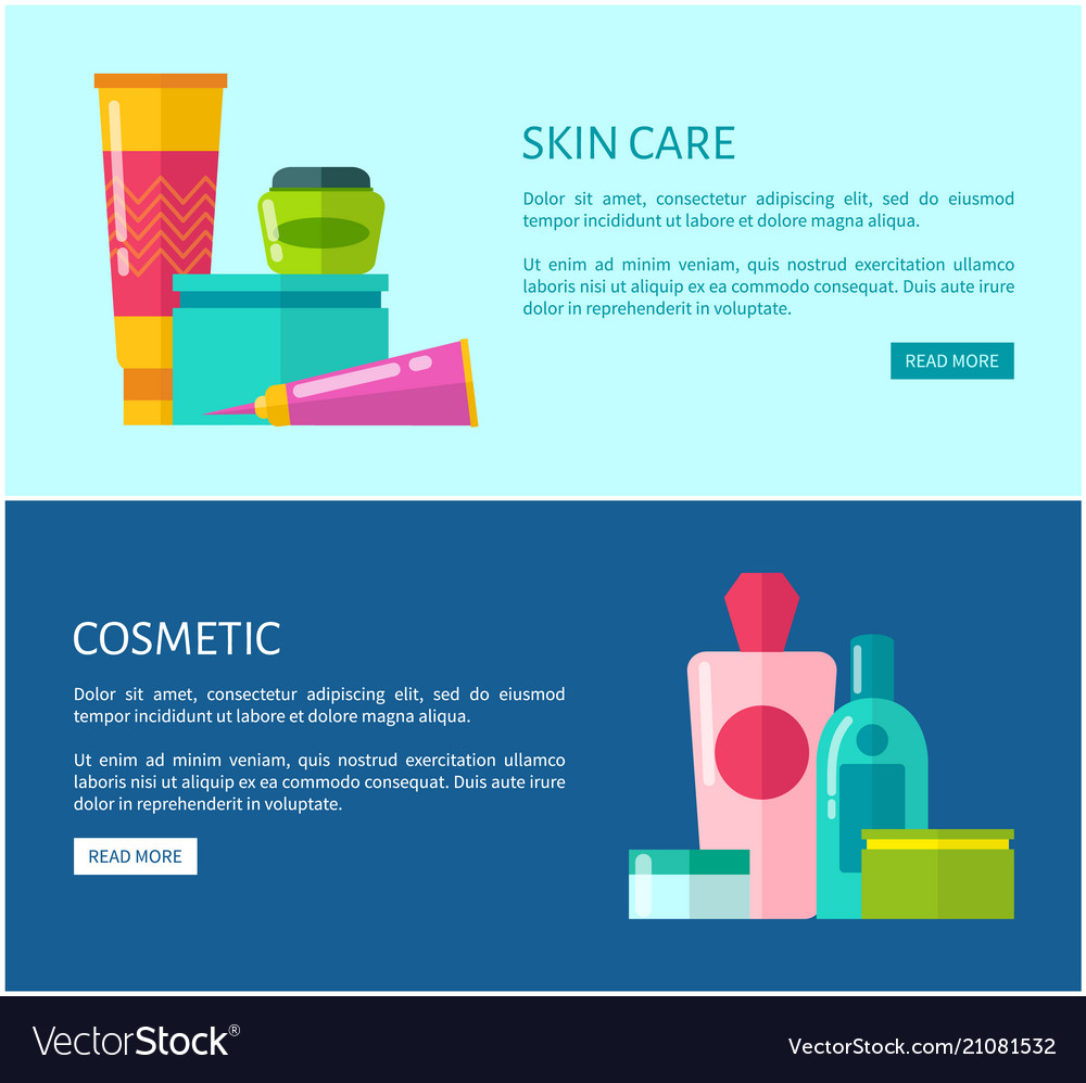 Skincare Cosmetic Promotional Internet Banners Vector Image
