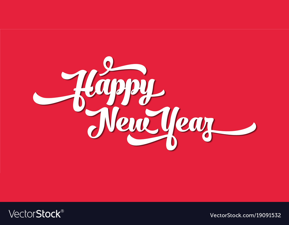 white text on a red background happy new year vector image