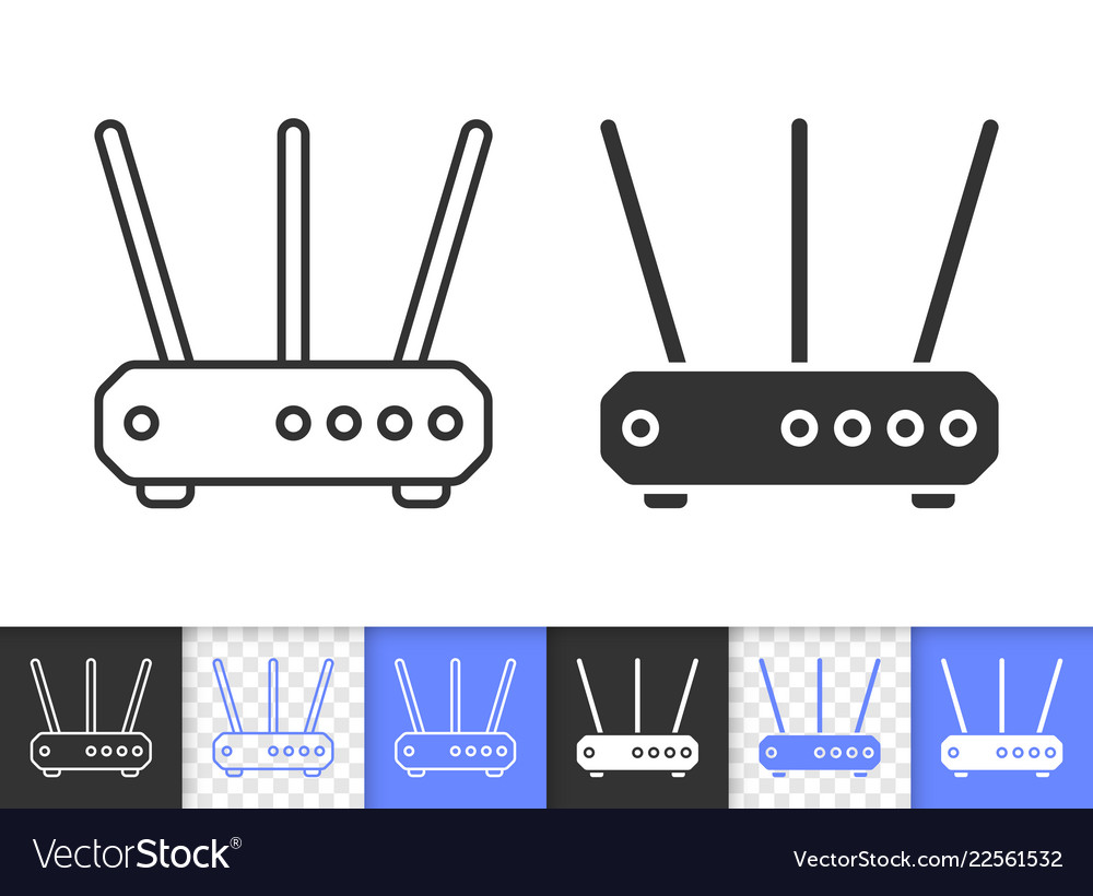 Wi-fi router simple black line icon