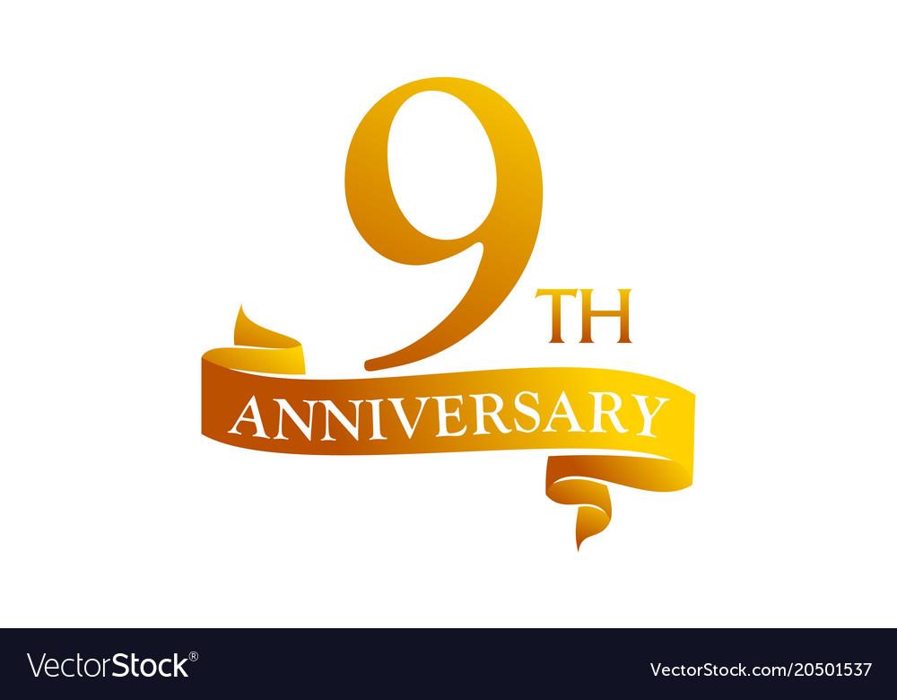 9 year ribbon anniversary Royalty Free Vector Image