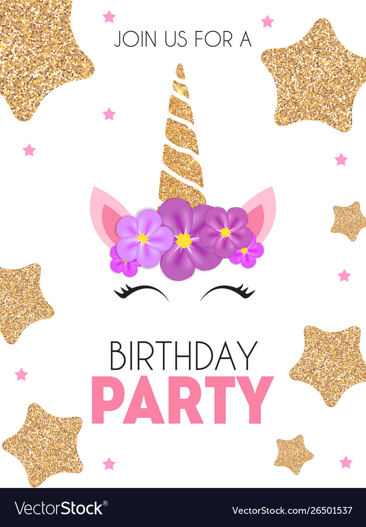 Birthday party invitation with cute unicorn and