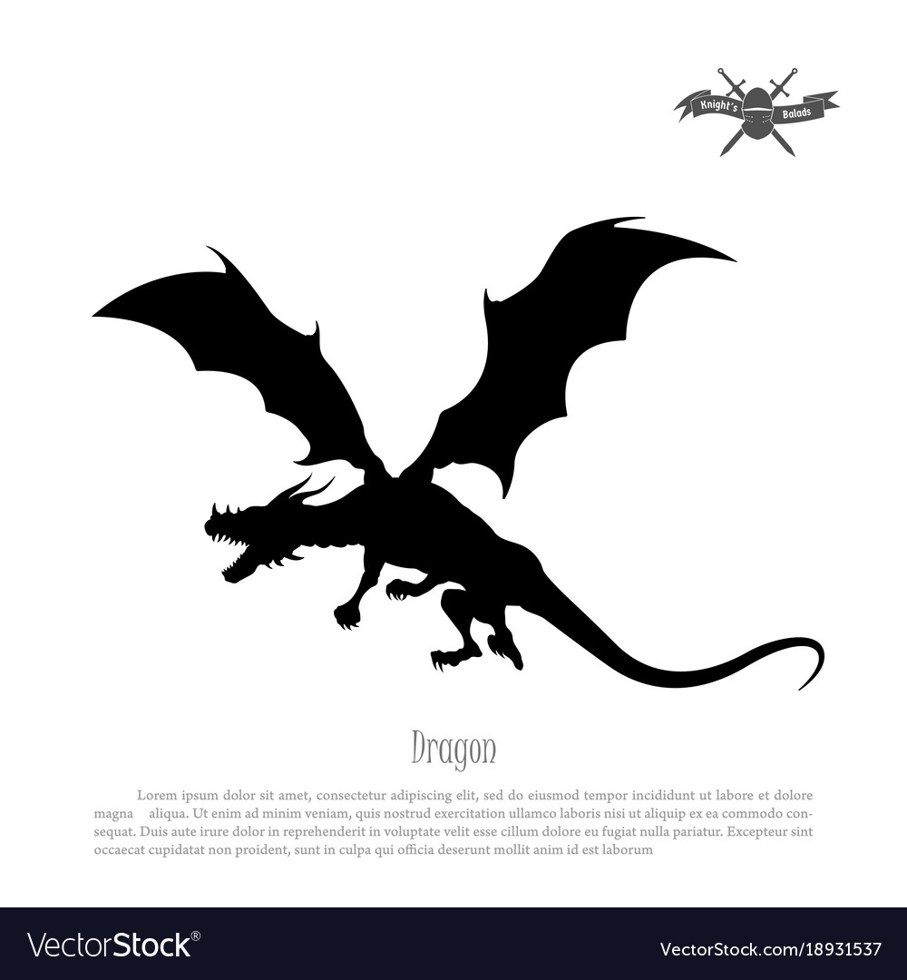 Black silhouette of dragon on white background