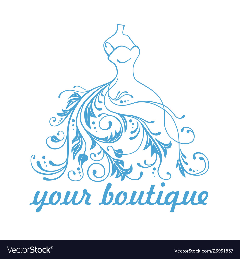Boutique dress gown logo design template