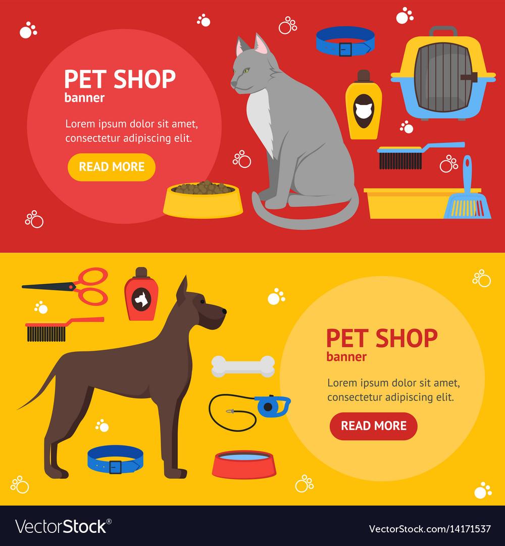 Cartoon domestic pet shop banner vector image