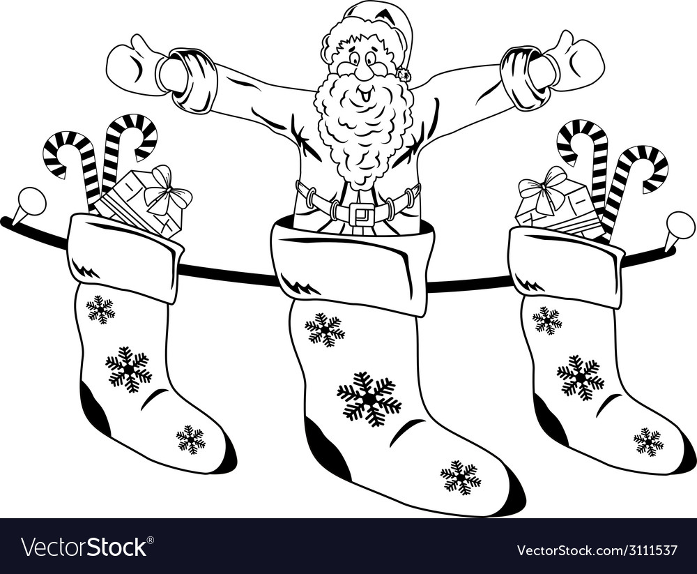 Christmas Stocking with Santa and gifts vector image