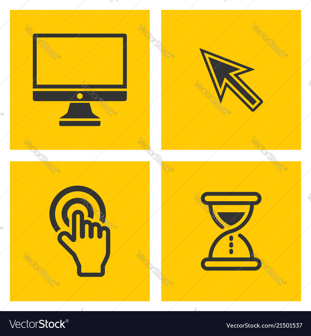 Computer black pictograms on yellow