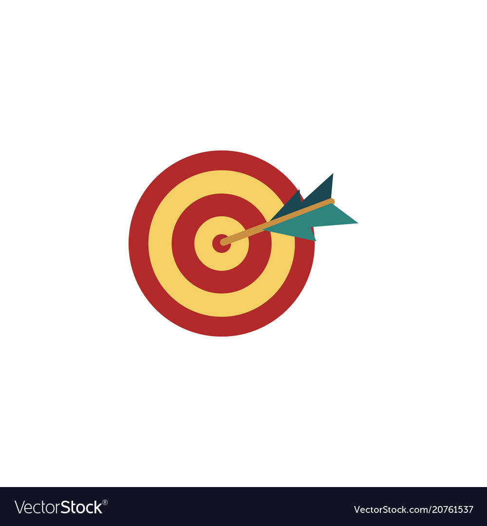 Flat darts target dashboard arrow in center vector image