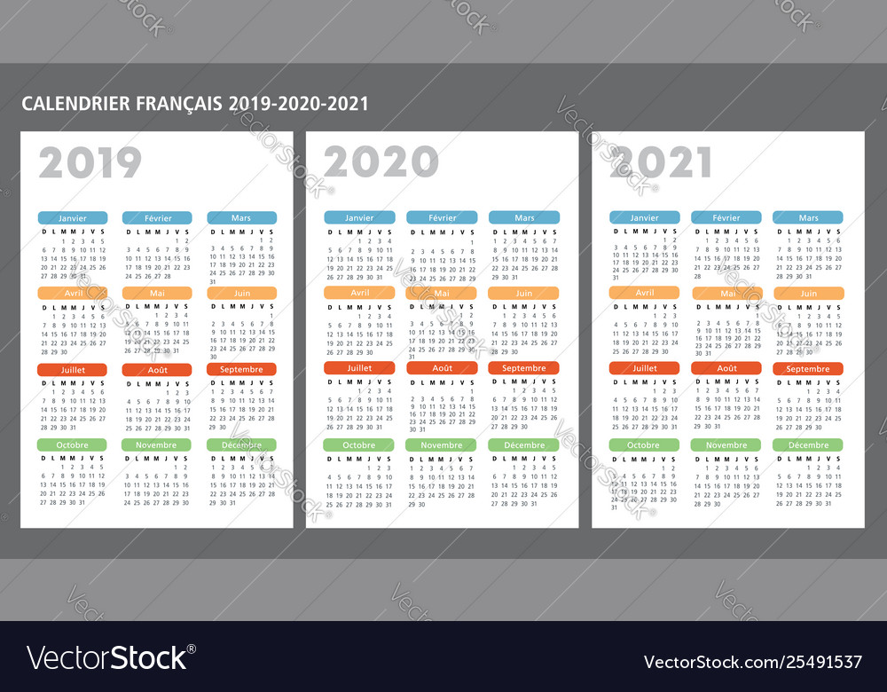 Calendrier 2020 2021.French Calendar 2019 2020 2021 Template