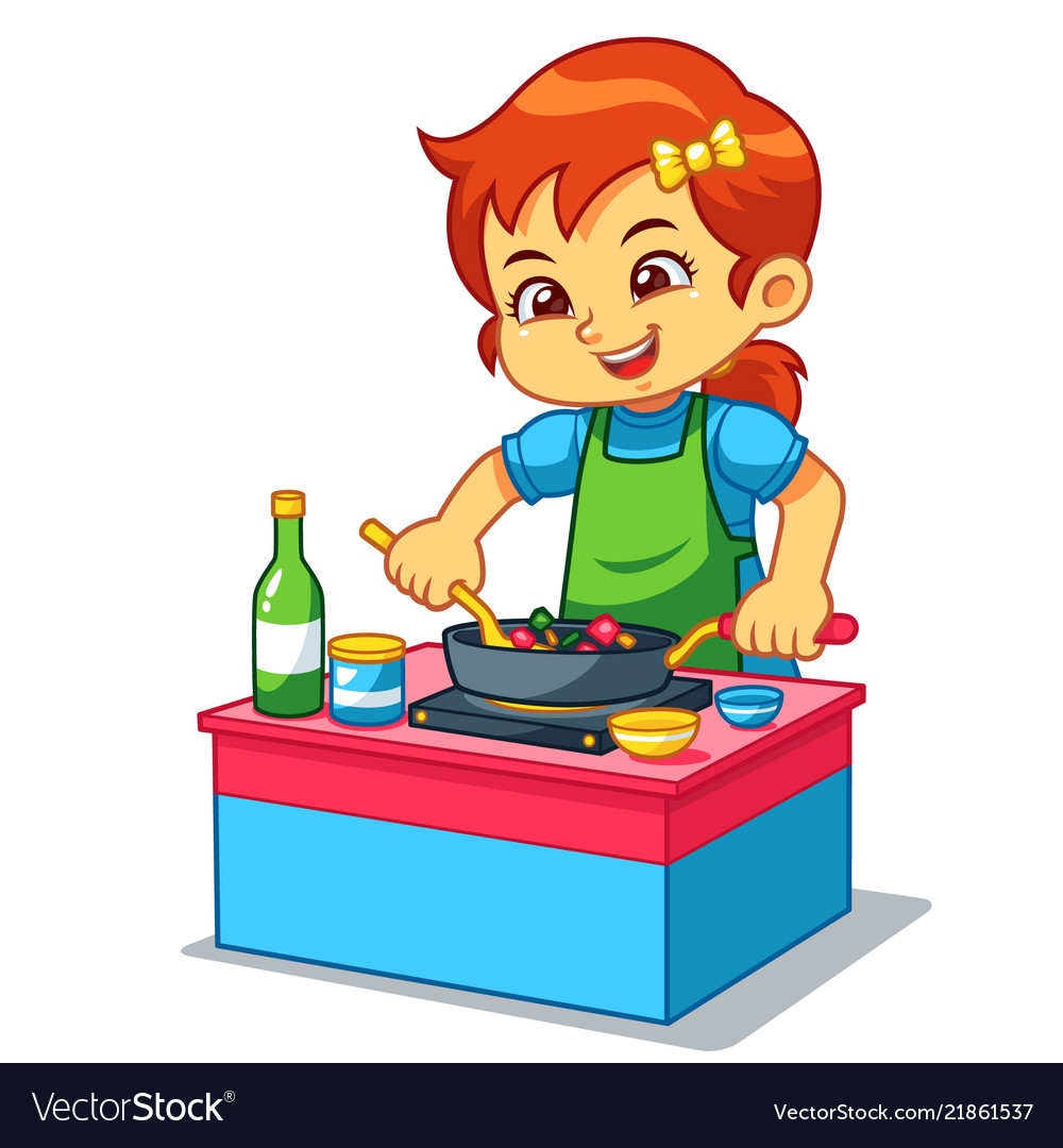 Girl cooking to make delicious food Royalty Free Vector