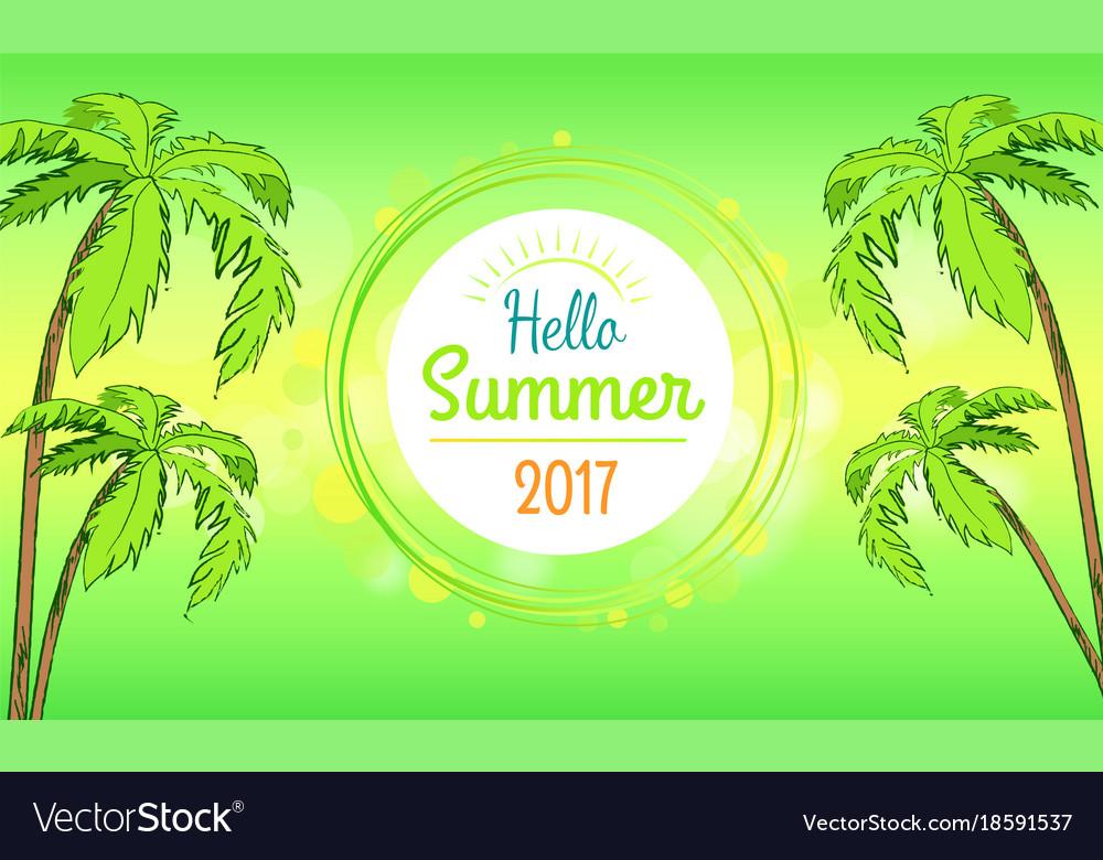 Hello summer time banner in round frame
