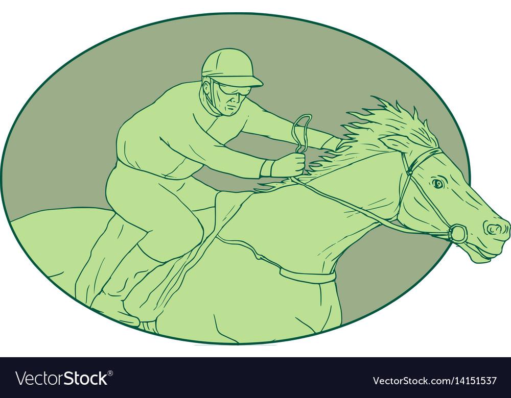 Horse jockey racing oval drawing vector image