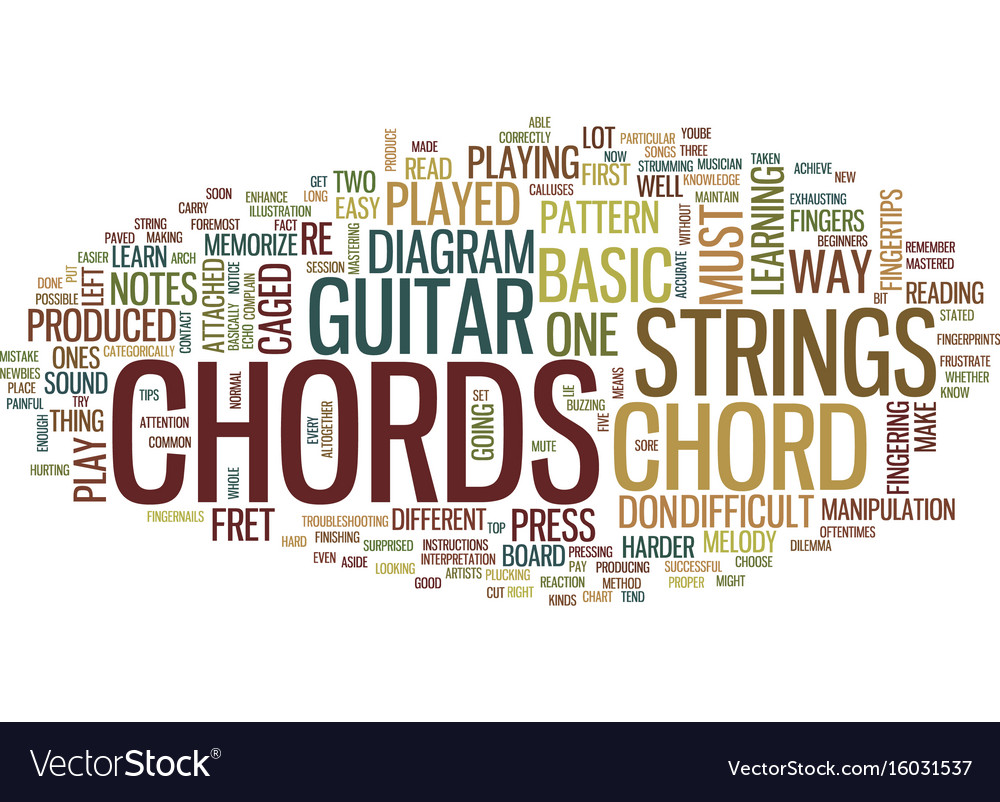 Learn Guitar Chords Text Background Word Cloud Vector Image