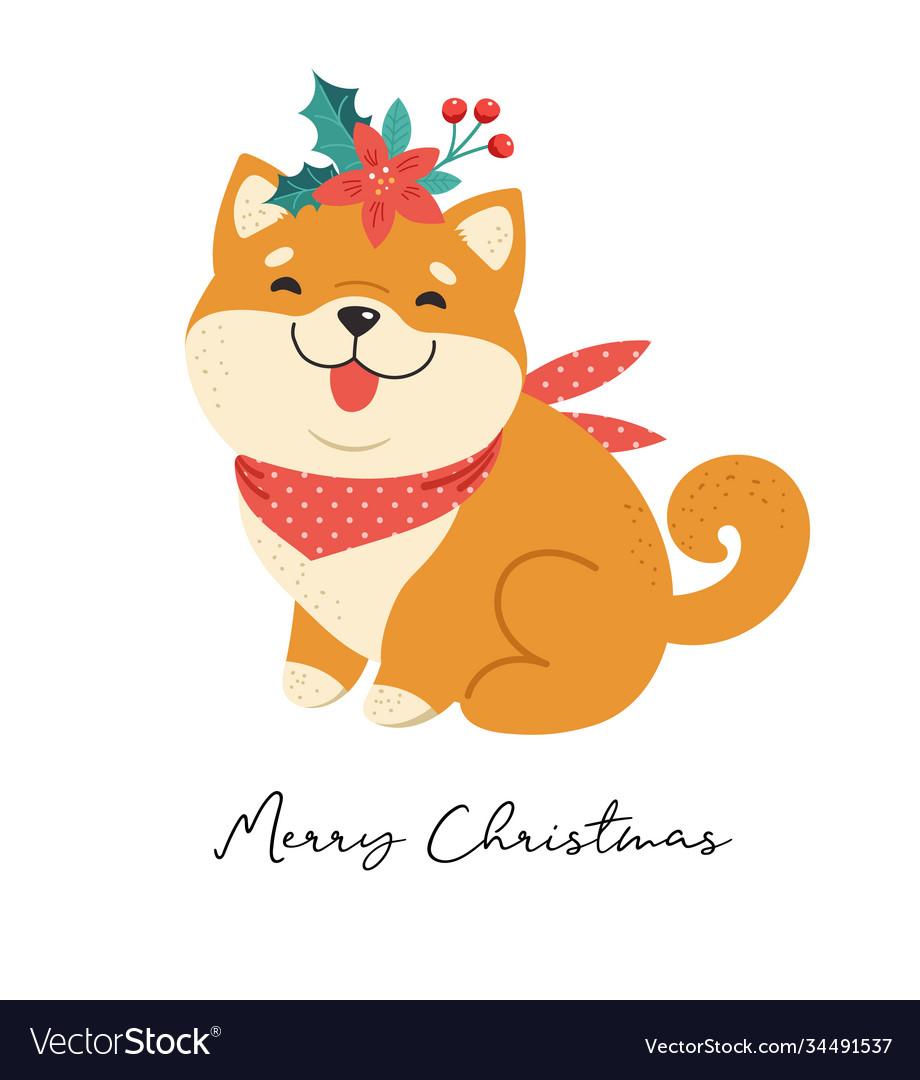 Merry christmas with shiba inu