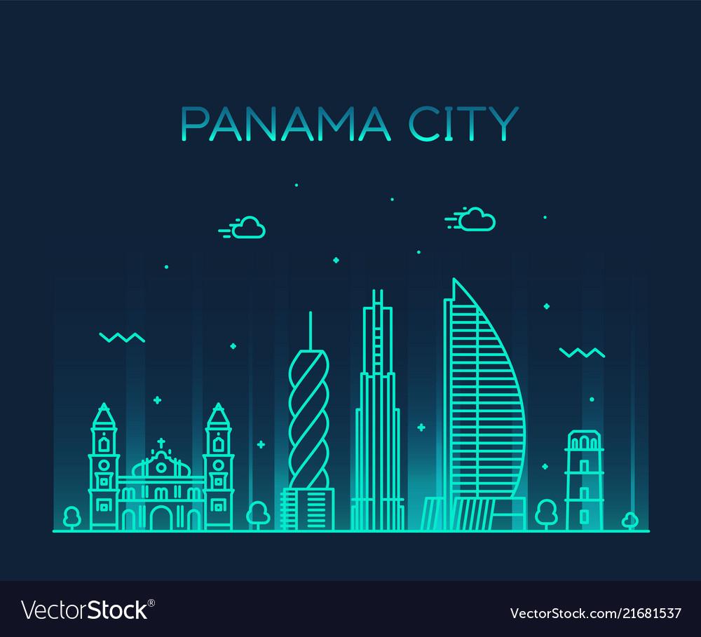 Panama city skyline panama linear style