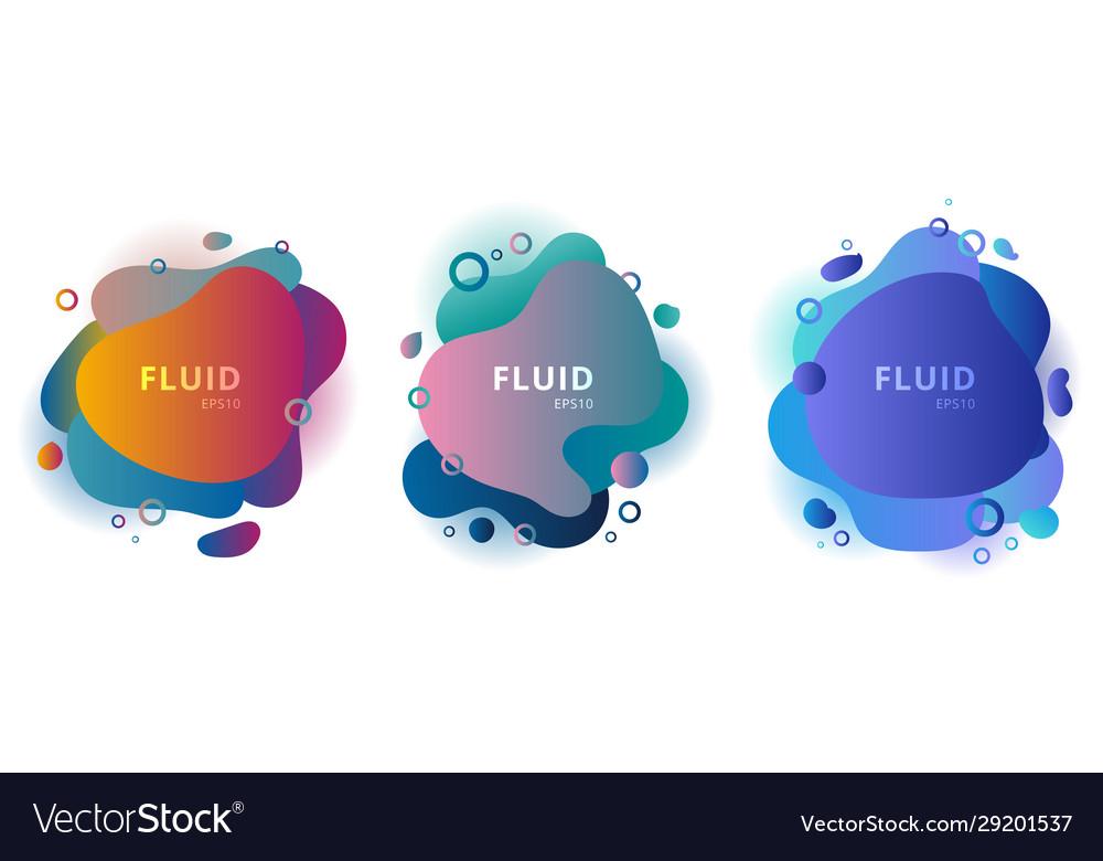 Set abstract modern fluid shapes color badges