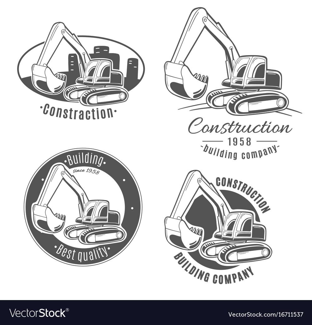 Set of logos excavator vector image