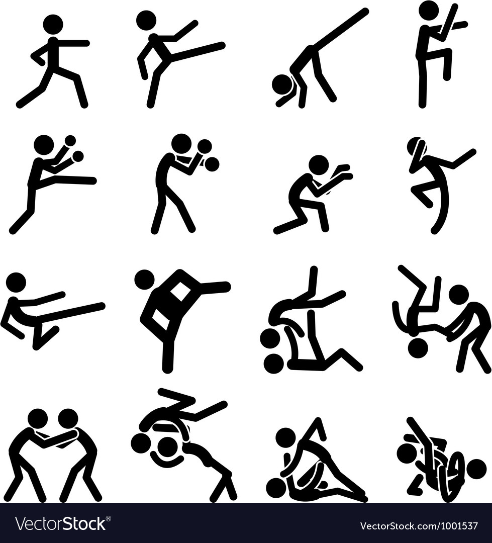 Sport Pictogram Icon Set 03 Martial Arts vector image