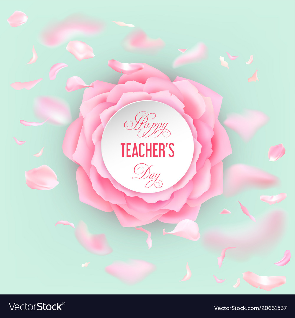 Teachers day card with roses Royalty Free Vector Image